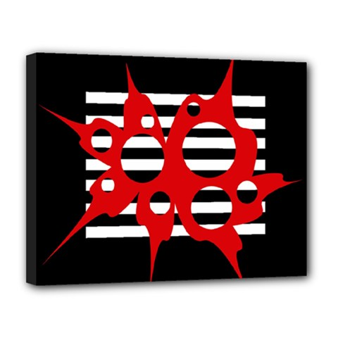 Red, Black And White Abstract Design Canvas 14  X 11