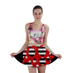 Red, Black And White Abstract Design Mini Skirt by Valentinaart