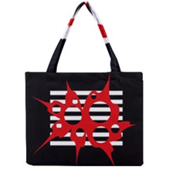 Red, Black And White Abstract Design Mini Tote Bag by Valentinaart