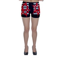 Red, Black And White Abstract Design Skinny Shorts by Valentinaart