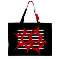 Red, Black And White Abstract Design Zipper Mini Tote Bag by Valentinaart