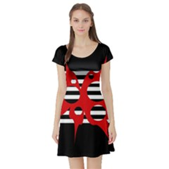 Red, Black And White Abstract Design Short Sleeve Skater Dress by Valentinaart