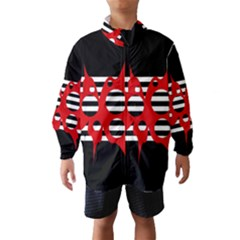 Red, Black And White Abstract Design Wind Breaker (kids)