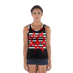 Red, Black And White Abstract Design Women s Sport Tank Top  by Valentinaart
