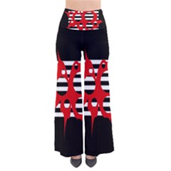 Red, Black And White Abstract Design Pants by Valentinaart
