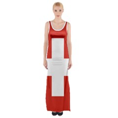 National Flag Of Switzerland Maxi Thigh Split Dress
