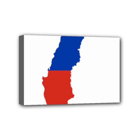 Flag Map Of Chile  Mini Canvas 6  X 4
