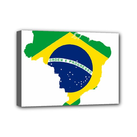 Flag Map Of Brazil  Mini Canvas 7  X 5