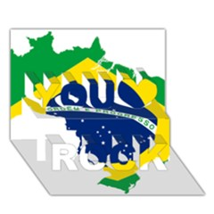 Flag Map Of Brazil  You Rock 3d Greeting Card (7x5)