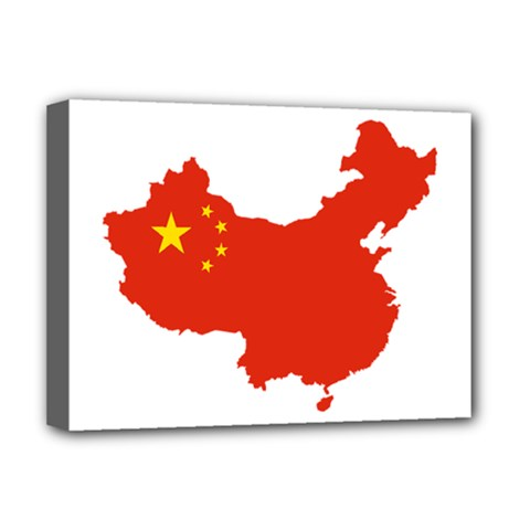 Flag Map Of China Deluxe Canvas 16  X 12   by abbeyz71