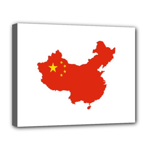 Flag Map Of China Deluxe Canvas 20  X 16