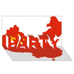 Flag Map Of China Party 3d Greeting Card (8x4)