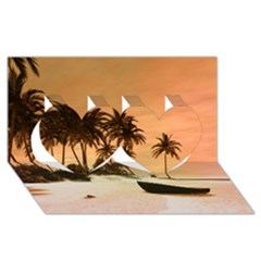 Wonderful Sunset Over The Beach, Tropcal Island Twin Hearts 3d Greeting Card (8x4) by FantasyWorld7