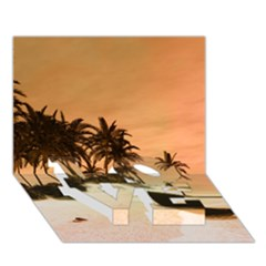 Wonderful Sunset Over The Beach, Tropcal Island Love Bottom 3d Greeting Card (7x5) by FantasyWorld7