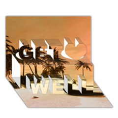 Wonderful Sunset Over The Beach, Tropcal Island Get Well 3d Greeting Card (7x5) by FantasyWorld7