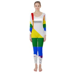 Lgbt Flag Map Of California Long Sleeve Catsuit by abbeyz71