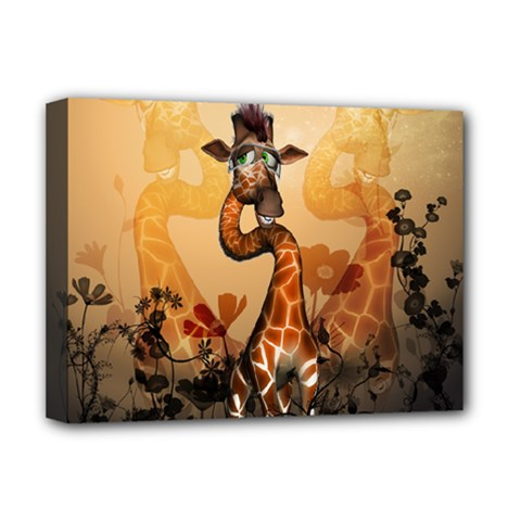 Funny, Cute Giraffe With Sunglasses And Flowers Deluxe Canvas 16  X 12   by FantasyWorld7