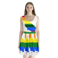 Lgbt Flag Map Of California Split Back Mini Dress  by abbeyz71