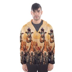 Funny, Cute Giraffe With Sunglasses And Flowers Hooded Wind Breaker (men) by FantasyWorld7