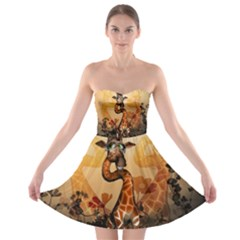 Funny, Cute Giraffe With Sunglasses And Flowers Strapless Dresses by FantasyWorld7