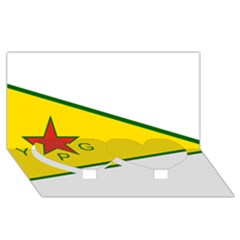 Flag Of The People s Protection Units Twin Heart Bottom 3d Greeting Card (8x4)
