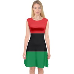 Pan African Flag  Capsleeve Midi Dress