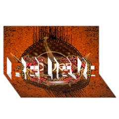 Surfing, Surfboard With Floral Elements  And Grunge In Red, Black Colors Believe 3d Greeting Card (8x4) by FantasyWorld7