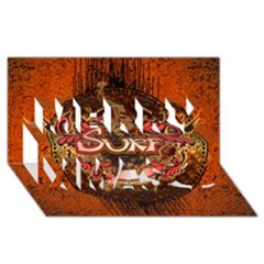 Surfing, Surfboard With Floral Elements  And Grunge In Red, Black Colors Merry Xmas 3d Greeting Card (8x4) by FantasyWorld7