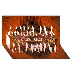 Surfing, Surfboard With Floral Elements  And Grunge In Red, Black Colors Congrats Graduate 3d Greeting Card (8x4)