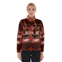 Surfing, Surfboard With Floral Elements  And Grunge In Red, Black Colors Winterwear by FantasyWorld7