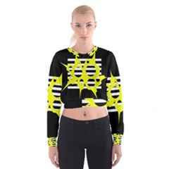 Yellow Abstraction Women s Cropped Sweatshirt by Valentinaart