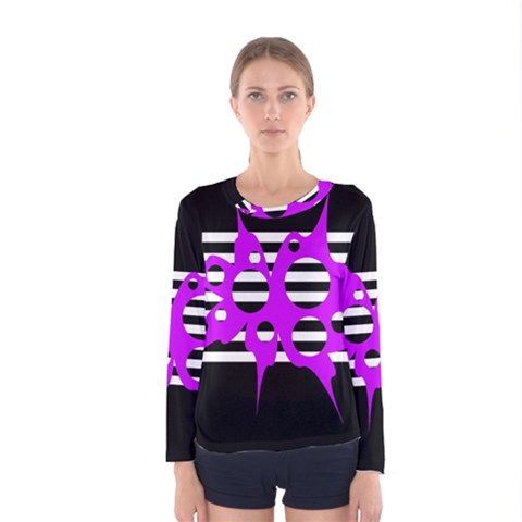 Purple Abstraction Women s Long Sleeve Tee by Valentinaart