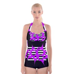 Purple Abstraction Boyleg Halter Swimsuit  by Valentinaart