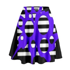 Blue Abstract Design High Waist Skirt by Valentinaart