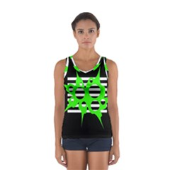 Green Abstract Design Women s Sport Tank Top  by Valentinaart