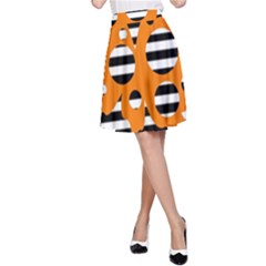 Orange Abstract Design A-line Skirt by Valentinaart
