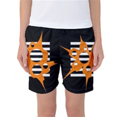 Orange Abstract Design Women s Basketball Shorts by Valentinaart
