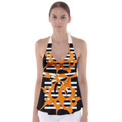 Orange Abstract Design Babydoll Tankini Top