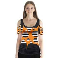Orange Abstract Design Butterfly Sleeve Cutout Tee  by Valentinaart