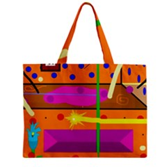 Orange Abstraction Zipper Mini Tote Bag by Valentinaart