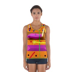 Orange Abstraction Women s Sport Tank Top  by Valentinaart