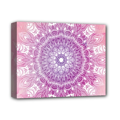 Pink Watercolour Mandala Deluxe Canvas 14  X 11  by TanyaDraws