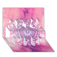 Pink Watercolour Mandala Get Well 3d Greeting Card (7x5) by TanyaDraws