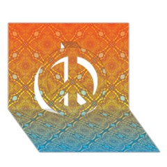 Ombre Fire And Water Pattern Peace Sign 3d Greeting Card (7x5) by TanyaDraws