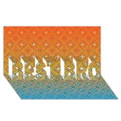 Ombre Fire And Water Pattern Best Bro 3d Greeting Card (8x4) by TanyaDraws