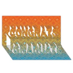 Ombre Fire And Water Pattern Congrats Graduate 3d Greeting Card (8x4) by TanyaDraws