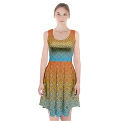 Ombre Fire And Water Pattern Racerback Midi Dress