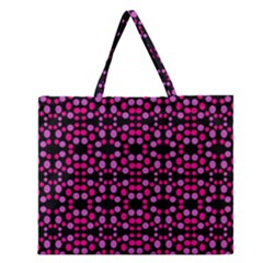 Dots Pattern Pink Zipper Large Tote Bag by BrightVibesDesign