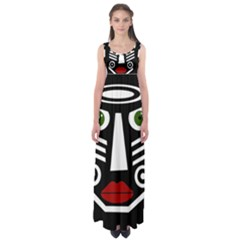 African Mask Empire Waist Maxi Dress