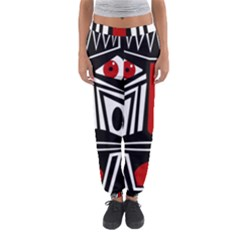 African Red Mask Women s Jogger Sweatpants by Valentinaart